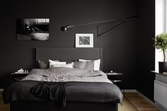 Black scandinavian apartment, bedroom, living room pink and black.