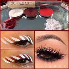 """Here's how I achieved the CandyCane eyeliner look I posted earlier.  ______________________________________ 1) scrape a matte white e/s  2) scrape any red e/s you may have (pigment)  3) you can use what I used which is the AnastasiaBeverlyhills """"brow genius"""" gel to make your eyeliners by mixing them together  Or you can use Visine eyedrops as well.  4) start by creating vertical lines where you would normally do your eyeliner with the white  5) fill in the gaps between the white with the red eyeliner  6) using makeup remover and a flat brush clean to your liking to create your eyeliner look.  7) make a super thin eyeliner line at the base of your eyelash like just to blend your falsies.  8) apply eyeliner to your waterline as desired. I used a reddish brown eyeshadow and then blended with black eyeliner.  9) apply a irredecent white glitter to the inner corner and your lid for extra sparkle.  THE WHITE AND BRIGHT RED EYESHADOW ARE FROM  @Jennifer Edge Brushes  AND THE DARKER RED EYESHADOW IS FROM  @Lani Lee Stell  I MIXED THEM BOTH TO GET THE RED THAT I WANTED.  LASHES: @Allison House of Lashes """"noir fairy"""" #browgenius #anastasiabeverlyhills #morphebrushes #glamtrashmakeup - @glam_trash_mua- #webstagram"""