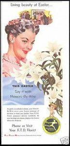 vintag 1956, easter lili, easter idea, vintag postcardsad, flower vintag