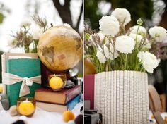 vintage books, book wedding, idea, book pages, librari, book theme, themed weddings, wedding centerpieces, globe