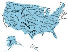 The Stereotype Map Of Every U.S. State — According To British People by buzzfeed: Click through for state-by-state details. #Map #US #Stereotype stereotyp map