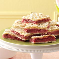 Raspberry-Rhubarb Slab Pie Recipe from Taste of Home -- shared by Jeanne Ambrose of Milwaukee, Wisconsin