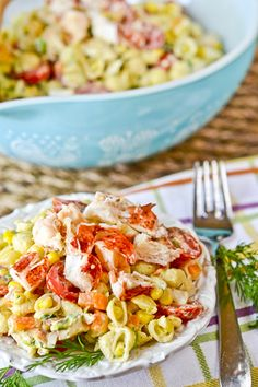 Lobster & Shells Pasta Salad recipe by Full Fork Ahead #summer #bbq #food