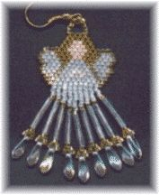 "Angel Earrings Pattern.  A sweet little angel to give to the ""angels"" in your life. Includes picture, color pattern, and suggestions for variations to make your own unique angel earrings.  Project Type: Bead Stitch: Brick"