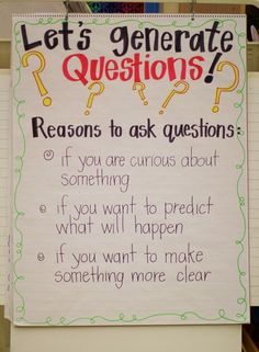 Great Anchor Chart about Questions