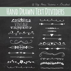 Chalkboard Text Divider Clip Art // Plus Photoshop Brushes // Hand Drawn Vintage Style // Ribbon Foliage Leaves // Vector // Commercial Use