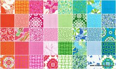 Lili-fied Charm Pack - Benartex Fabrics - Benartex.. THIS IS ABOUT 3/4 YARD OF FABRIC - FOUR DIFFERENT COLORS BUT THE PATTERNS ARE THE SAME, 10 DIFFERENT PATTERNS IN EACH COLOR.. TRY IT!!