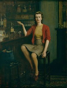 Frederick Elwell (1870–1958)  In the Bar, 1943  Oil on canvas  Photo credit: Ferens Art Gallery, Hull Museums  © Elwell Estate