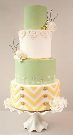 Green and yellow chevron wedding cake