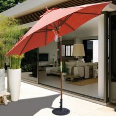 The 9' Suncrylic Easy Tilt Wood Market Umbrella features Rotational Tilt and Quad Pulley Rope System provides ease of use. A premium umbrella for $289.00 sale price.  Product ID : GAL-139-239-SC #PatioUmbrella