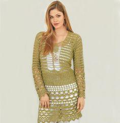 Crochet tunic PATTERN long sleeves crochet by OnlyFavoritePATTERNs