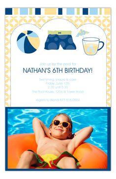 Blue Pool Trio Photo Card by Polka Dot Design