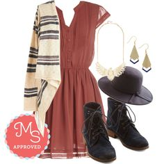 In this outfit: Ready, Russet, Go! Dress, Fringed Forever Cardigan, Whimsical Wingspan Necklace, Detailed It! Earrings, Topper the Morning Hat in Grey, Bolder and Boulder Boot #casual #cozy #cardigan #fallfashion #boots #casualchic