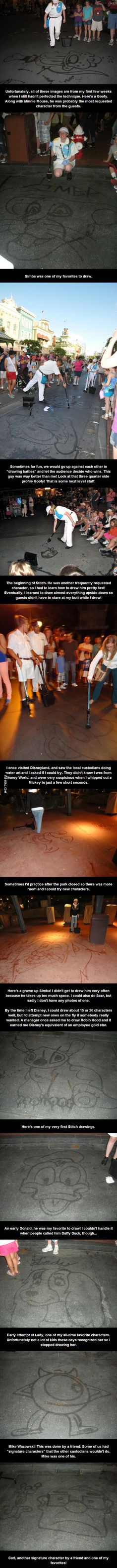 As a janitor at Disney World, she drew characters with water and a broom on the sidewalk to entertain guests. disney parks