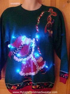 80s Awesome Retro Christmas Sweater with Lights (g277)