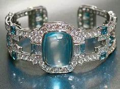 aquamarine and diamond bracelet. Its so hard to find my birthstone in pretty stuff!