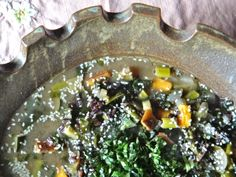 Seaweed soup with black rice - Recipe by Tamara Green
