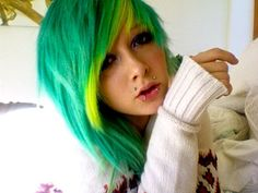 Blue-green/aqua hair with yellow peek-a-boo highlight