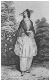 """Illustration of a """"bloomer"""" dress of the 1850s. Source: Wikimedia Commons. Read more on the GenealogyBank blog: """"Victorian Women Hike to the Summit of Pikes Peak!"""" http://blog.genealogybank.com/victorian-women-hike-to-the-summit-of-pikes-peak.html"""