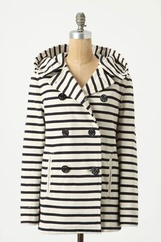 Striped Jersey Peacoat  (This coat would be kind of perfect for Seattle)