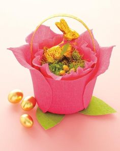 Crepe Paper Rose Basket How-To