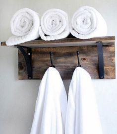 Click Pic for 18 DIY Bathroom Storage Ideas - Rustic Towel Organizer - Bathroom Organization Ideas towel rack diy, diy shelf with hooks, towel organ, bathroom storage, bathroom towel storage, bathroom organization, hous, diy towel hook, towel hooks diy