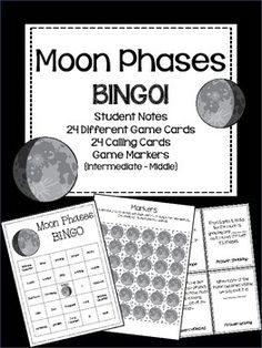 Moon Phases Bingo! Created by Kelly Ann. Free until 11:00 a.m Sept. 14, 2014 EST.