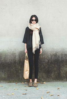 Black and a soft beige mix.