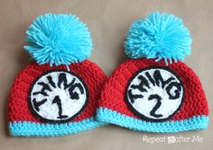 Repeat Crafter Me: Thing 1 and Thing 2 Crochet Hats. This blog has so many free patterns for cute crochet things --- not just hats