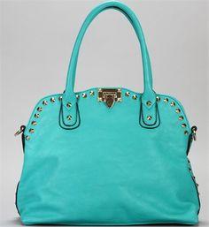 Turquoise Gold Studded Handbag