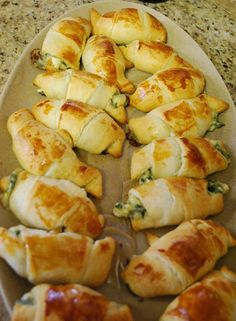 Crescent rolls filled with feta, mozzarella, and spinach.