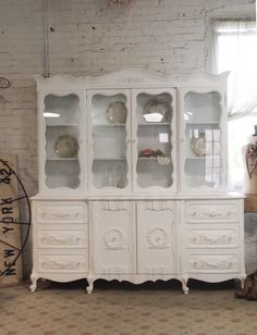 Painted Cottage Chic Shabby White Romantic French China Cabinet [cc39] - $695.00 : The Painted Cottage, Vintage Painted Furniture