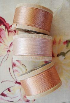 VIntage silk thread in peach