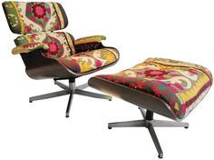 Eames chair with gorgeous fabric - so Consuela!