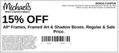 Michaels: 15% off Frames Printable Coupon