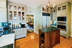 Makeover for a California Bungalow- the new kitchen is a blend of period elements and modern amenities.