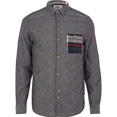 Dark grey Bellfield check pocket shirt