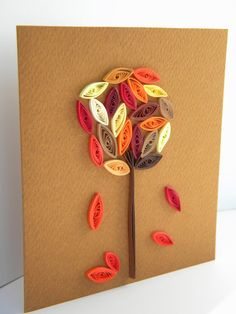 November tree card / quilling autumn card / autumn card (by ancamilchis in Romania)