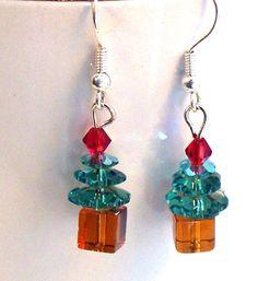 Swarovski Crystal Christmas Tree Earrings by lindab142 on Etsy, $13.00