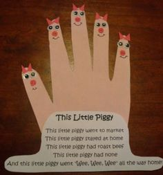 This Little Piggy Nursery Rhyme Craft Should be a foot and not a hand. Doing for feet prints.