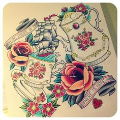 tea tattoo design. #tattoo #tattoos #ink
