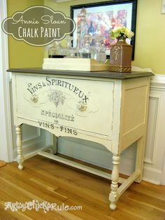 Antique Sideboard Makeover - Chalk Paint-Graphics #chalkpaint #graphics #signs #furniture #frenchgraphics #frenchcountry
