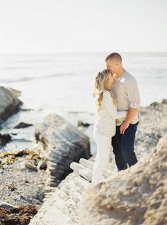 rocky beach engagement, photo by Danielle Poff http://ruffledblog.com/los-osos-engagement-session #engagementsession