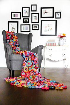 crochet blankets, chair, crochet afghans, japanes flower, flower blanket