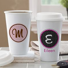CUTE! The Polka Dot Monogram Personalized Reusable Travel Tumbler - personalize it for only $22.95! It comes in 4 vibrant color combinations!