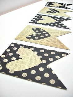 Voilà Vintage Flags w/Sewn Hearts Garland Polka by BeeBuzzPaperie, $13.50