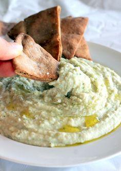 Garlic White Bean Basil Hummus + Homemade Toasted Pita Chips