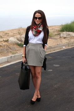 Beige skirt, white top, blazer and casual scarf
