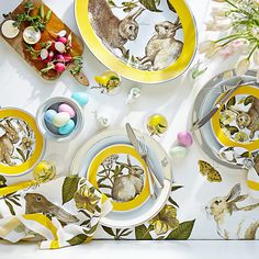Williams Sonoma Easter dishes and tablecloth
