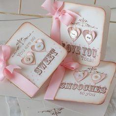 Shabby Valentines Set of 3 Handmade Greeting Cards